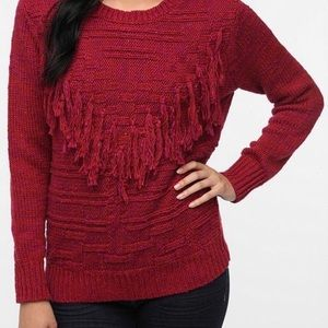 Urban Outfitters Boho Red Fringe Sweater